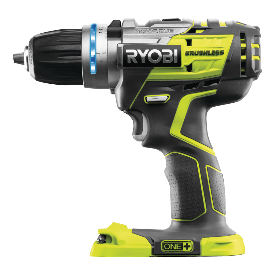 ryobi power tools logo. brushless percussion drill ideal for drilling in wood or metal, driving screws even masonry thanks to the hammer function ryobi power tools logo